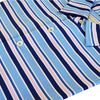 Donald Ross Mens Short Sleeves Bold Multi-Stripe Jersey Polo, Self Collar - PACIFIC