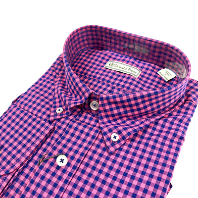Donald Ross Long Sleeve Dress Shirt - GUAVA / NAVY