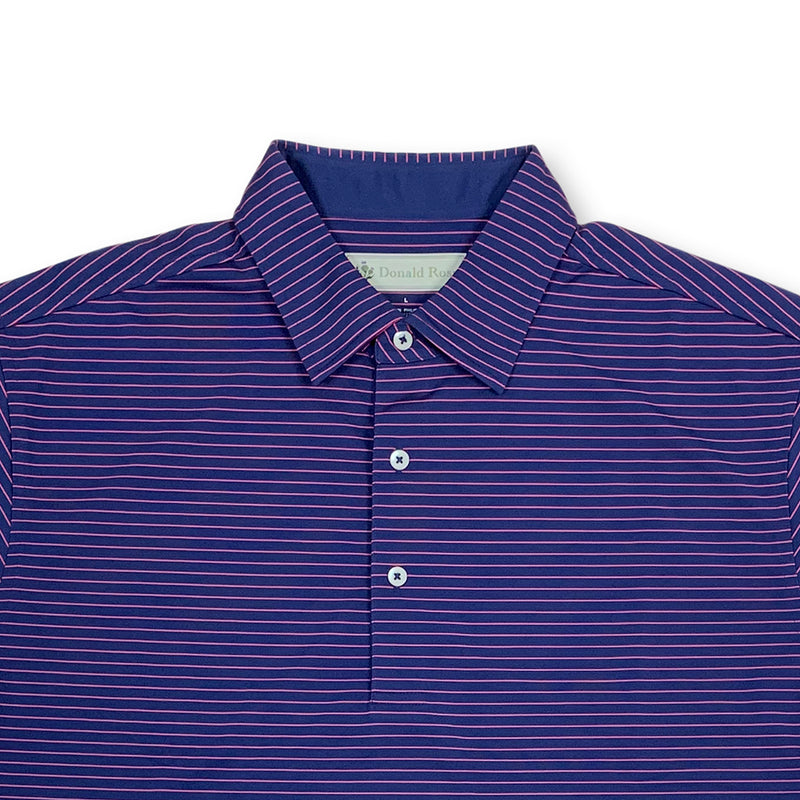 "Donald Ross MENS Short Sleeve 2 color ""Pencil Stripe"" JERSEY POLO - NAVY / BERRY"
