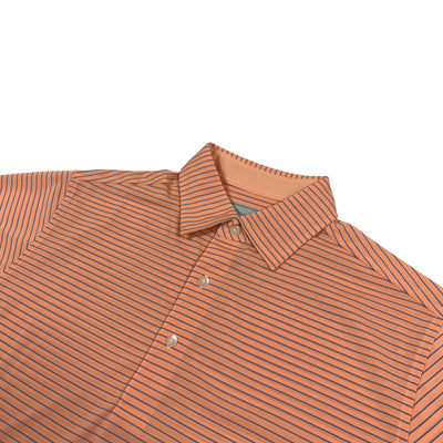 "Donald Ross MENS Short Sleeve 2 color ""Pencil Stripe"" JERSEY POLO - CITRUS / PACIFIC BLUE"