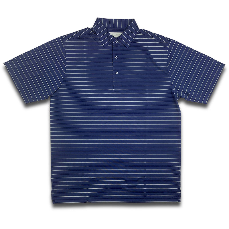 "Donald Ross MENS Short Sleeve 2 color ""Pencil Stripe"" JERSEY POLO - NAVY / KELLY GREEN"