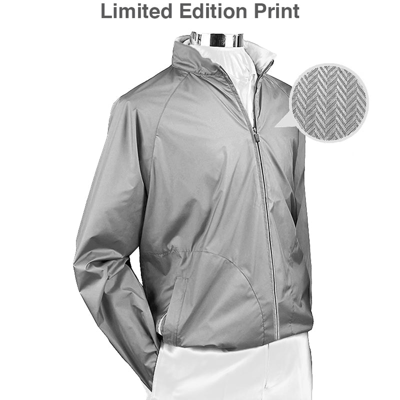 Donald Ross Mens ULTRALIGHT Packable Long Sleeve Shell - LTD EDITION PRINT - STEEL GREY