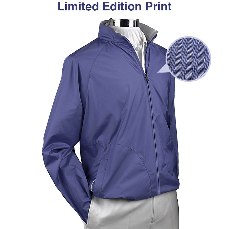 Donald Ross Mens ULTRALIGHT Packable Long Sleeve Shell - LTD EDITION PRINT - NAVY
