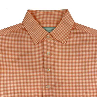 Donald Ross MENS Short Sleeve Tonal Check Print Jersey Polo - CITRUS