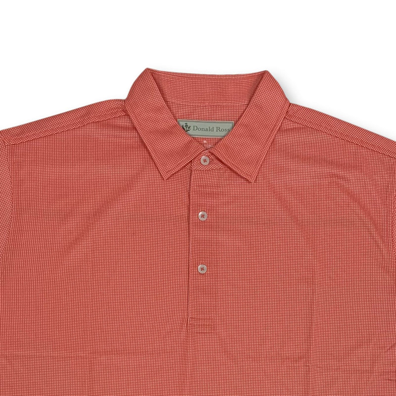 Donald Ross Mens Short Sleeve Print JERSEY - CORAL / WHITE