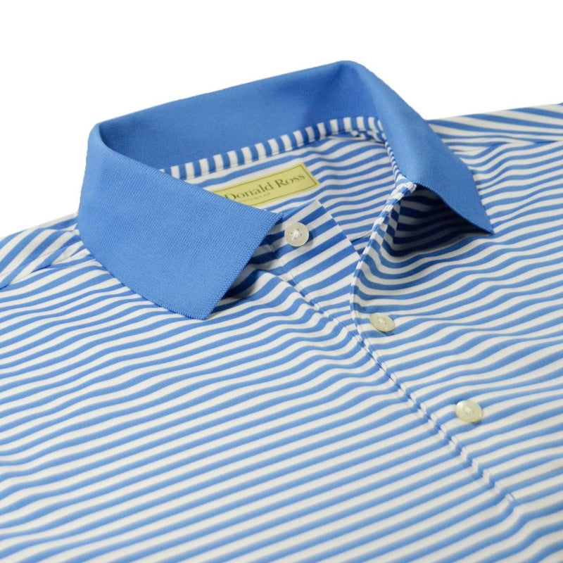 Donald Ross Mens Short Sleeve Feeder Stripe Polo - DOLPHIN / CREAM