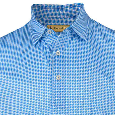 Donald Ross Mens Classic Houndstooth Print Jersey Polo - DOLPHIN / WHITE