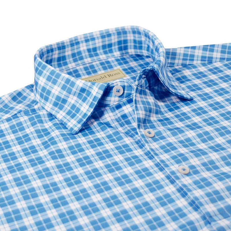 Donald Ross Mens Summer Plaid Print Polo - DOLPHIN / WHITE