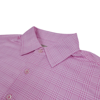 Donald Ross Mens Short Sleeve PRINCE OF WHALES PLAID PRINT polo, Self Collar - PINK / WHITE