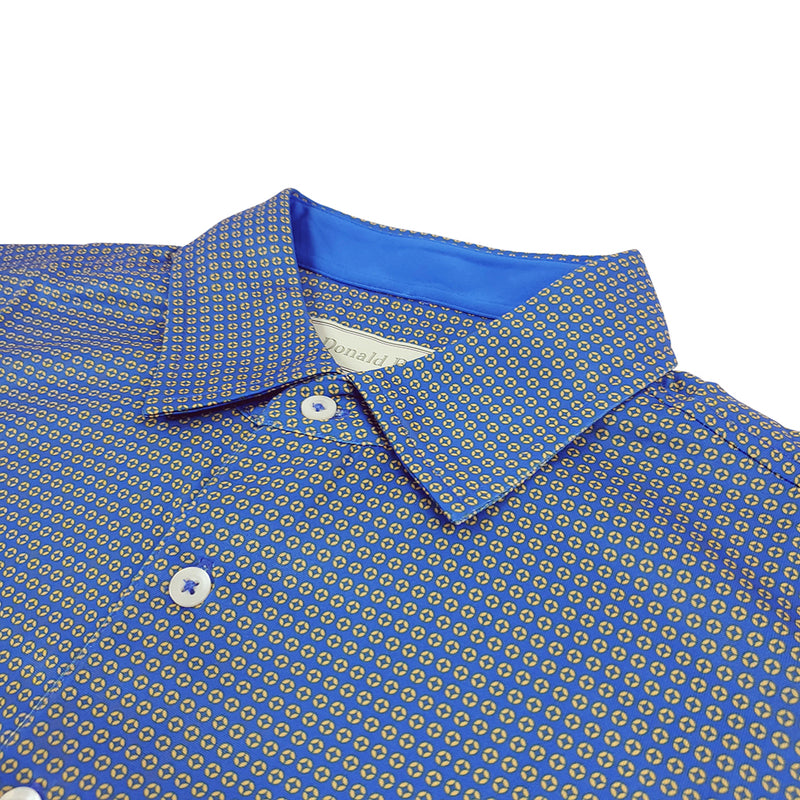 Donald Ross Mens Short Sleeve 2-Color NEAT PRINT Pattern Self Collar - PATRIOT / HONEY