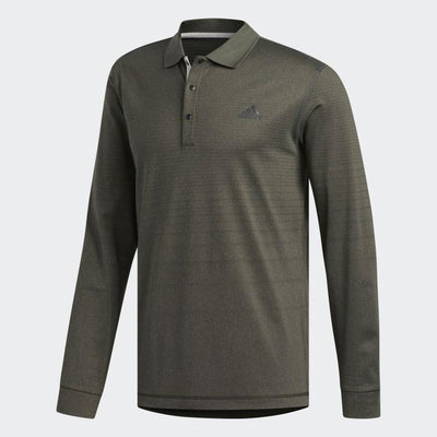 ADIDAS MENS GOLF THERMAL LONG SLEEVE POLO SHIRT - LEGEND EARTH MEL