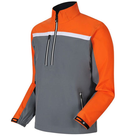 FootJoy DryJoys Tour XP Long Sleeve Rain Shirts - Steel Grey/Orange/Black -Previous Season Style