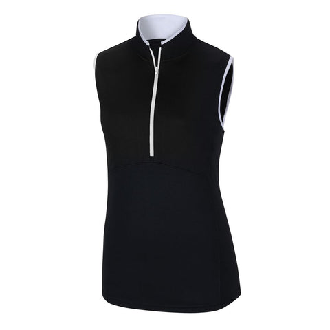 FootJoy - Sleeveless Half-Zip Shirt Women - BLACK / WHITE