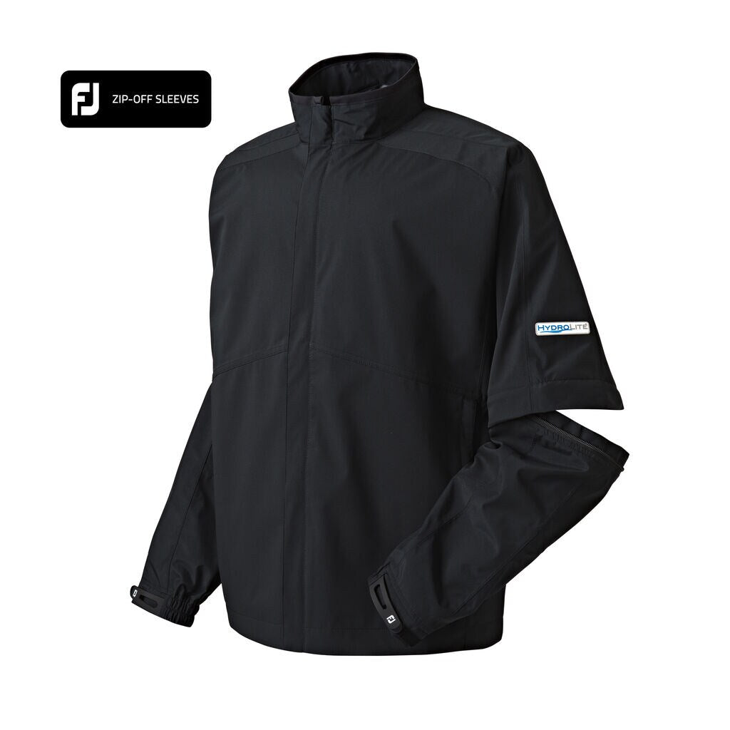 Footjoy Mens - FJ HydroLite Rain Jacket Zip-Off Sleeves - BLACK