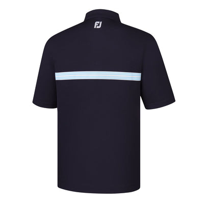Footjoy Lisle Multi Stripe Chestband Knit Collar - Navy