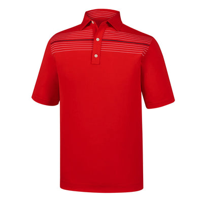 FootJoy Athletic Fit Lisle Chest Pinstripe Self Collar RED