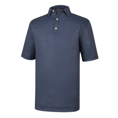 Athletic Fit Lisle Foulard Print Self Collar - NAVY