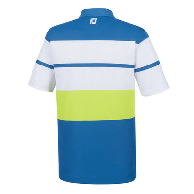 Athletic Fit Color Block Smooth Pique Knit Collar -BLUE MARLIN / WHITE / CITRUS