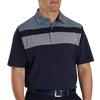 FJ Men's Double Block Birdseye Pique Self Collar - NAVY / WHITE / BLUE FOG