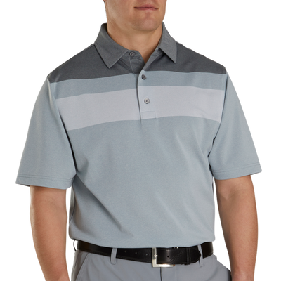 FJ Men's Double Block Birdseye Pique Self Collar - HEATHER GREY / WHITE / BLACK