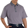 FJ Men's Lisle Stripe Self Collar - Heather Navy / White / Iced Berry