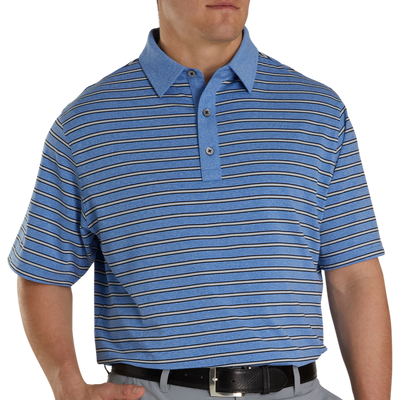FJ Men's Lisle Stripe Self Collar - Heather Royal / Black / Heather Grey