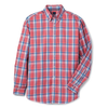 FJ Mens Brushed Plaid Woven - Button Down - GARNET