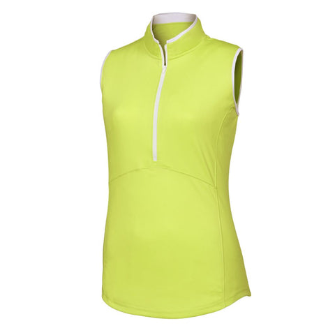 FootJoy - Sleeveless Half-Zip Shirt Women - LIME / WHITE