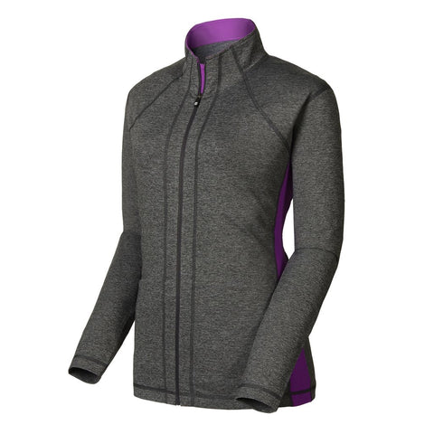 FootJoy Full-Zip Mid Layer Women - HEATHER CHARCOAL / GRAPE Previous Season Style