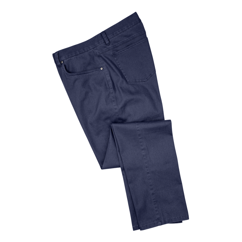 FJ Mens Sueded Cotton Twill 5-Pocket Pants - NAVY