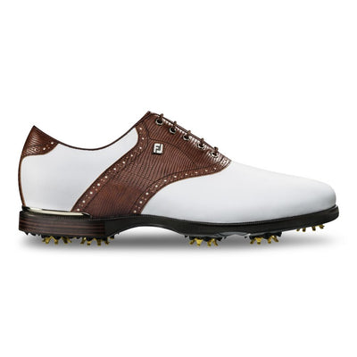 FJ ICON BLACK Mens Golf Shoes - WHITE / CHESTNUT LIZARD PRINT
