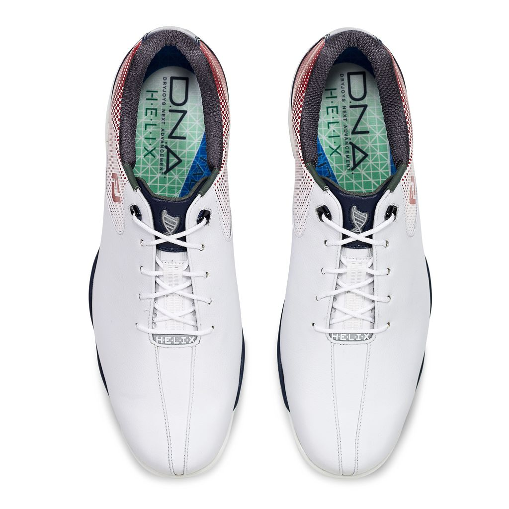 2cbd2cccbc73e7 Footjoy Mens D.N.A. HELIX Golf Shoes -WHITE / RED / BLUE - Factory Blemish