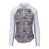 Greg Norman Women's 1/4 Zip Foil Zebra Mock - WHITE