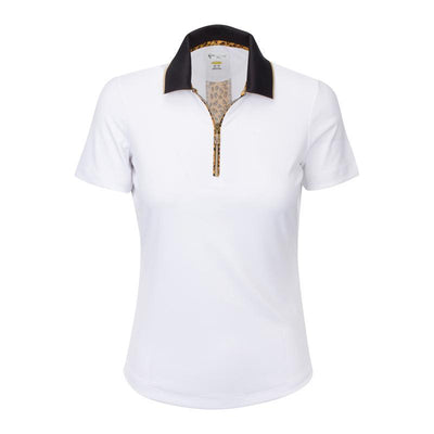 Greg Norman Women's UNTAMED - Gato Zip Polo - White / Leopard Print