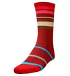 G/Fore Men's Crew Socks - Blocked Stripe Scarlet (M/L)
