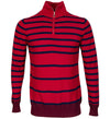 G/Fore Men's 12 Gauge Stripe Zip Up Sweater - Scarlet