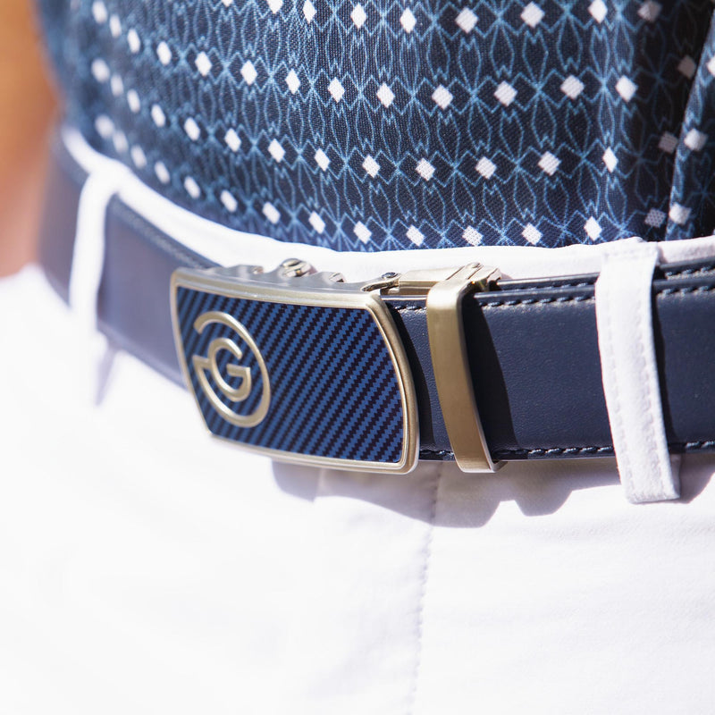 Galvin Green Mens WAYNE ICONIC BUCKLE LEATHER BELT - NAVY