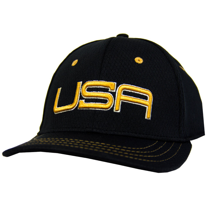 USA LTD EDITION PRO FITTED TOUR HATS 2.0 - BLACK/GOLD/WHITE