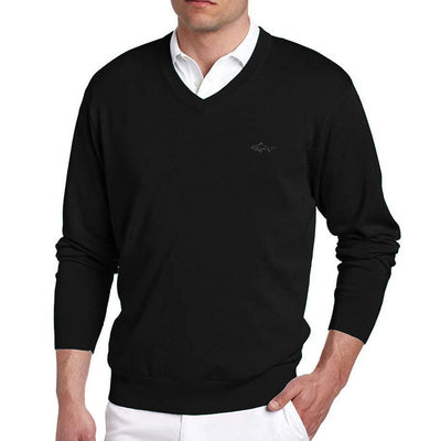 Greg Norman Collection Men's Solid V-Neck Sweater - Black