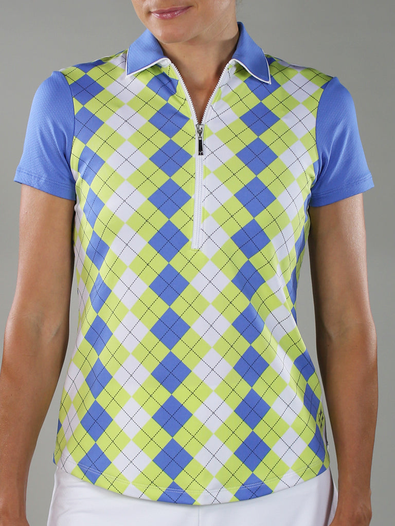JoFit Tipped Polo- Argyle