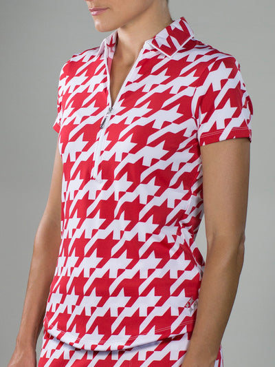 JoFit Tipped Polo- Lipstick Houndstooth