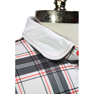 Iliac The Swinger - Round Collar - Black Tartan / Pure White
