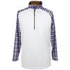 Iliac Dormy 1/2 Zip Sweater - Pure White / Purple Tartan