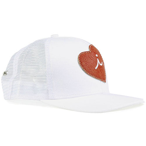 Iliac Love Heart Cap - Pure White/Silver Plated Bar