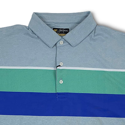Jack Nicklaus Mens Texture Block Polo - Blue Fog