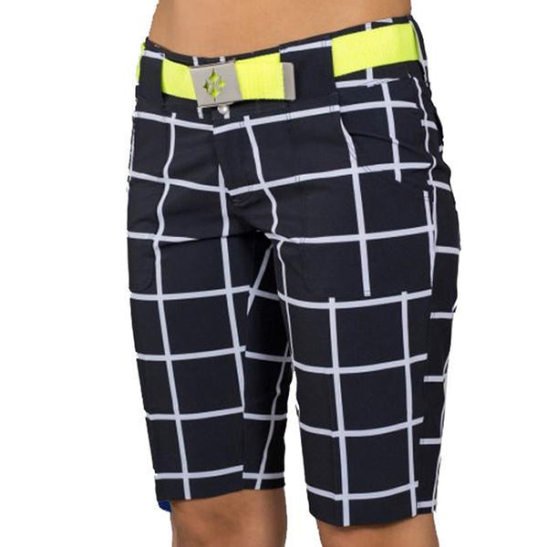 JoFit Belted Bermuda Shorts - Black Windowpane