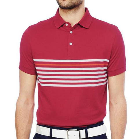 J. Lindeberg Men's Michael Slim Lux Stripe Jerseys - Dark Red