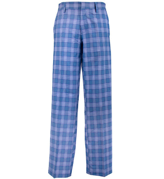 J.Lindeberg Men's Troon Micro Stretch Pants - Checked Blue Grey