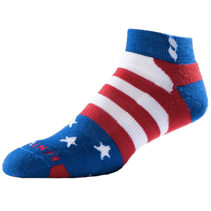 KENTWOOL MENS TOUR PROFILE AMERICANA INDEPENDENCE ANKLE SOCKS - RED/BLUE/WHITE