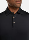 Peter Millar Mens Solid Performance Polo Self Color - BLACK